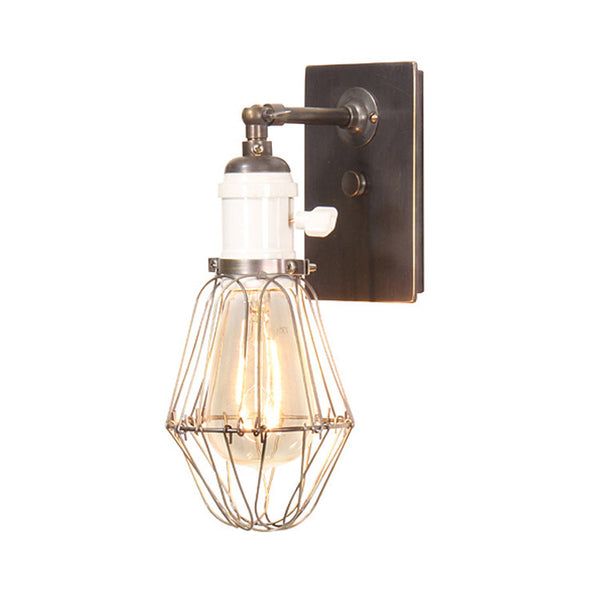 Reproduction - Pin Arm Wall Light with Caged Marconi Bulb