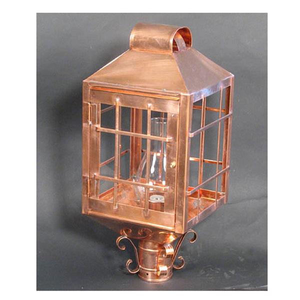 Square Copper Post Lamp
