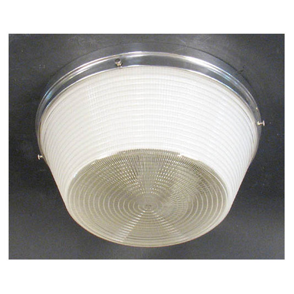 Round Industrial Ceiling Light with Prismatic Glass