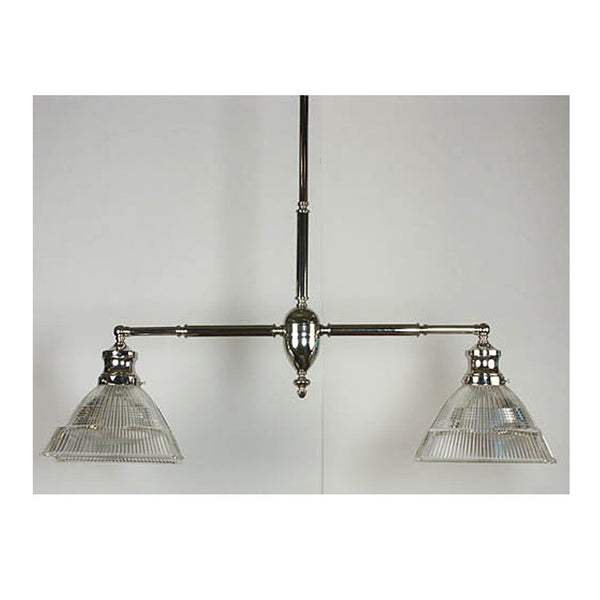 Stepped Holophane Billiard Fixture with Nickel Finish