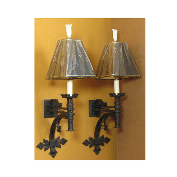 Pair Wrought Iron Wall Lights