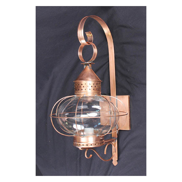 Reproduction - Large Copper Onion Glass Wall Lantern