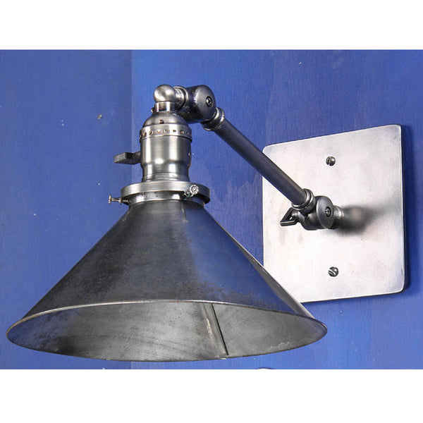 Reproduction - Adjustable Arm Wall Light w/ Vintage Tin Shade