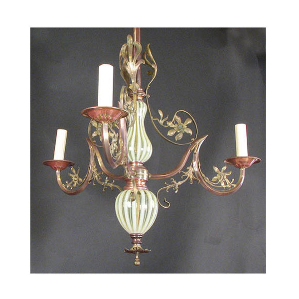 Three Arm Art Nouveau Chandelier with Glass Body