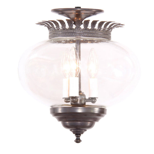 Reproduction - Large Onion Glass Lantern with Leaf Crown
