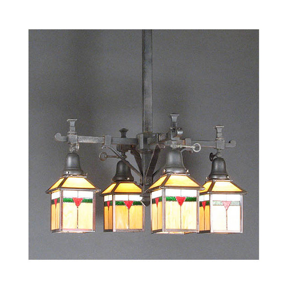 Four Arm Original Gas Arts & Crafts Fixture with New Shades