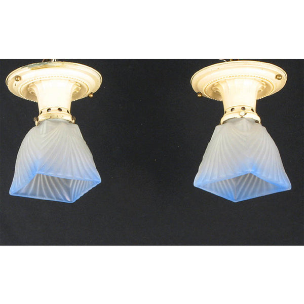 Pair Square Blue Ceiling Lights