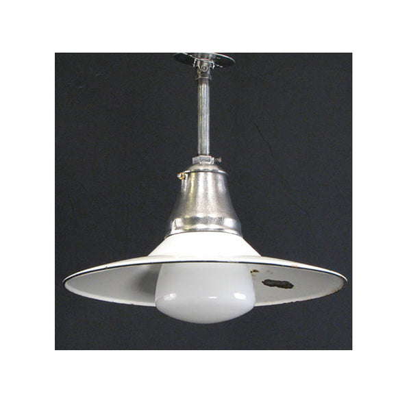 White Enamel Shade with Screw In Glass
