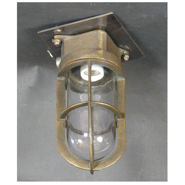 Cast Brass Marine Ceiling Light with Caged Glass