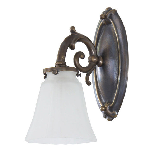 Reproduction - Brass Wall Light with Frosted Glass Shade