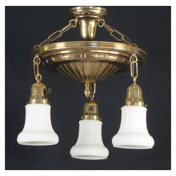 Three Light Pan Fixture with Antique Shades