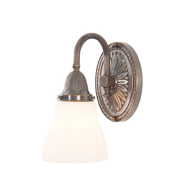Reproduction - Brass Wall Light with Curved Reeded Arm