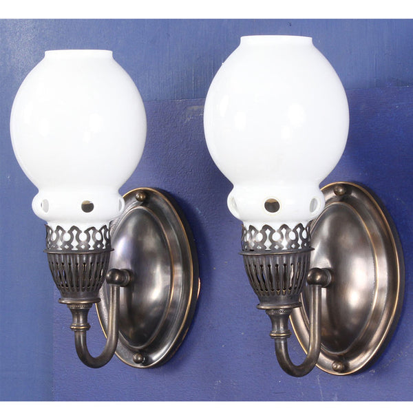 Pair Wall Lights with Antique Gas Burners and Opal Glass