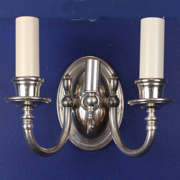 Pair Silver Gas and Electric Wall Lights