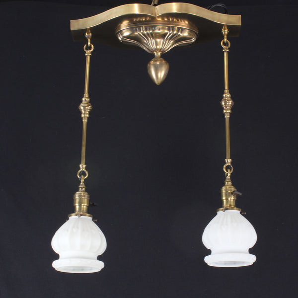 Early Electric Sheffield Two Light Pan Fixture
