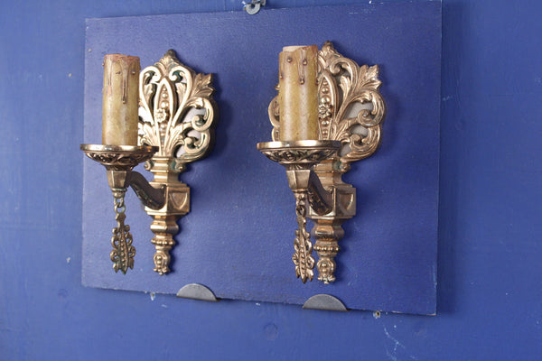 Pair Early 20th Century Cast Brass Wall Lights