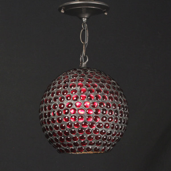 Red Pebble Glass Hanging Lamp
