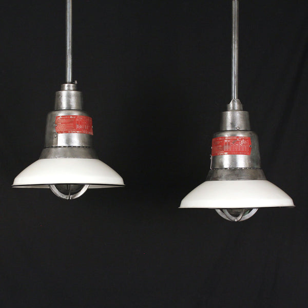 Pair Crouse Hinds Pendants with Original White Shades