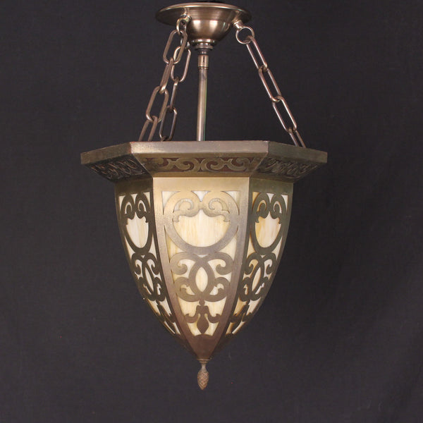 Decorative Slag Glass Hanging Light