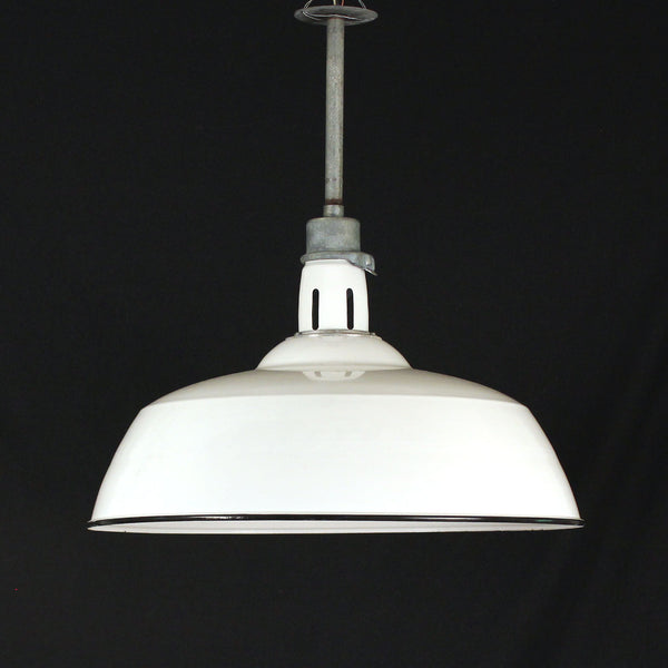 Large White Enamel Shade Pendant