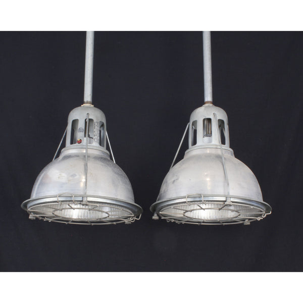 Pair Holophane Pendants with Aluminum Covers