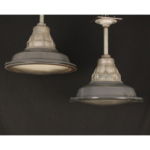 Pair Gray Industrial Pendants