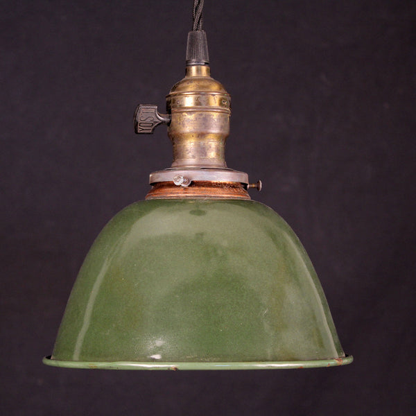 Green Enamel Shade with Vintage Socket on Cloth Cord