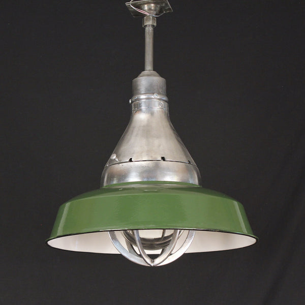 Large Crouse Hinds Vapor Proof Light with Green Enamel Shade