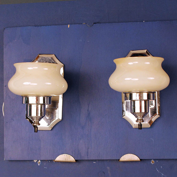Pair Chrome Wall Lights w/ Custard Glass Shades