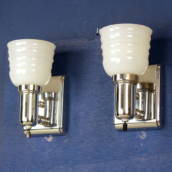 Pair Chrome Art Deco Wall Lights w/ Original Glass Shades