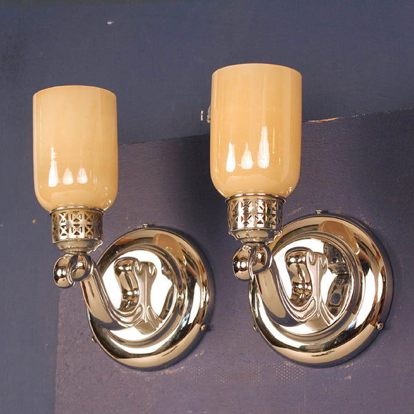Pair Nickel Wall Lights w/ Glass Shades