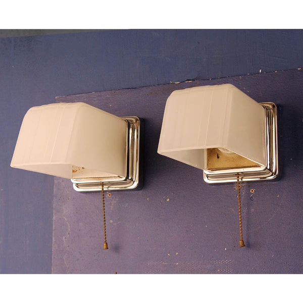 Pair Chrome and Camphor Glass Bathroom Wall Lights w/ Square Backs