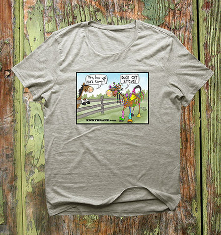 Buck Off Steve Horse Cartoon T-Shirt