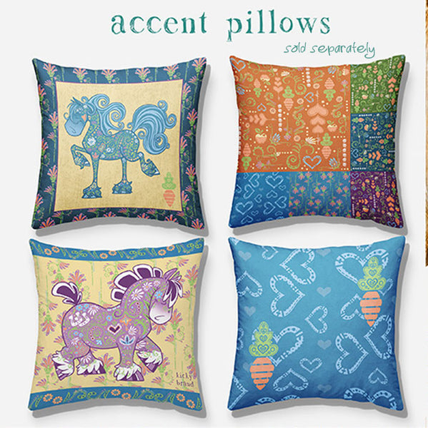 Accent pillows to match horse duvet and shams. Bedding set.