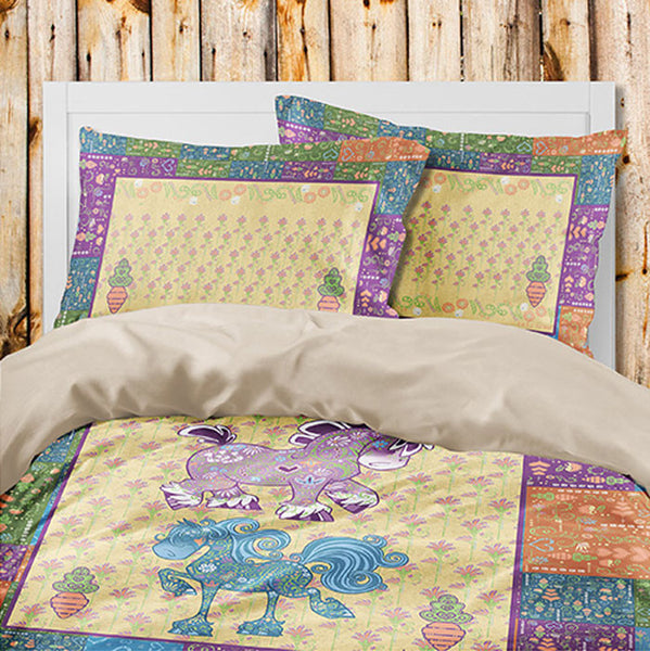 Bedding for horse lovers. Equifauna duvet with original art by Kellie Lewis