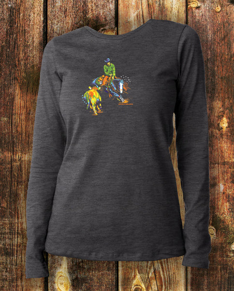 Working cow horse in long sleeved charcoal