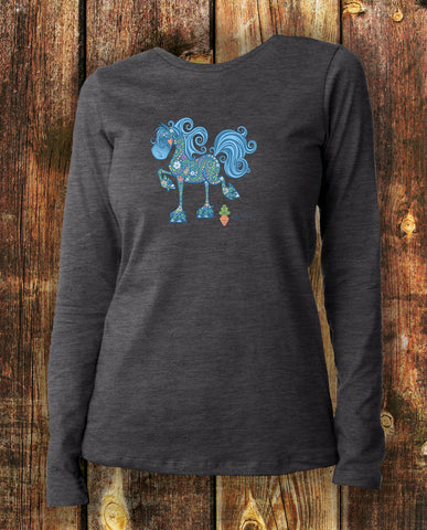 Fancy Friesian Equifauna in Charcoal Long Sleeved Tee