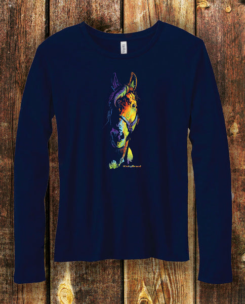 Equifunk Horse Tee Long Sleeves Navy