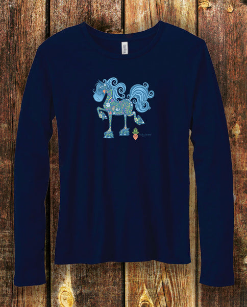 Fancy Friesian Equifauna in Navy Long Sleeved Tee