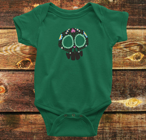 Sugar Skull Baby Onesie in Green