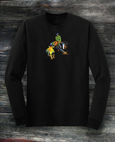 Working cow horse in long sleeved black