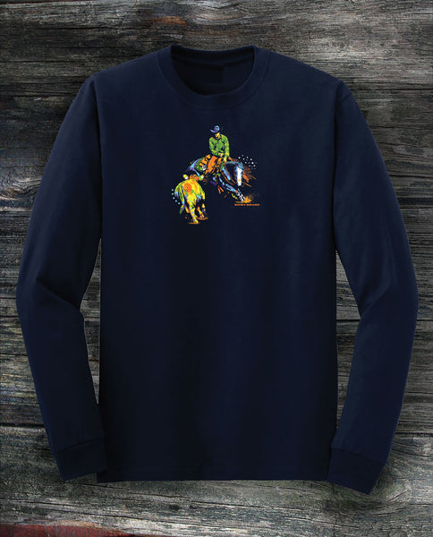 Working cow horse in long sleeved navy