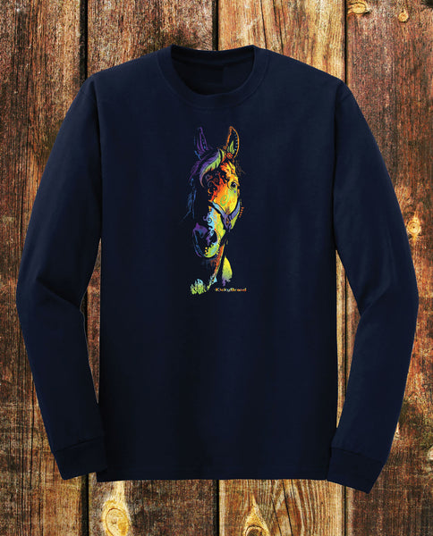 Equifunk Horse Tee Unisex Long Sleeves Navy