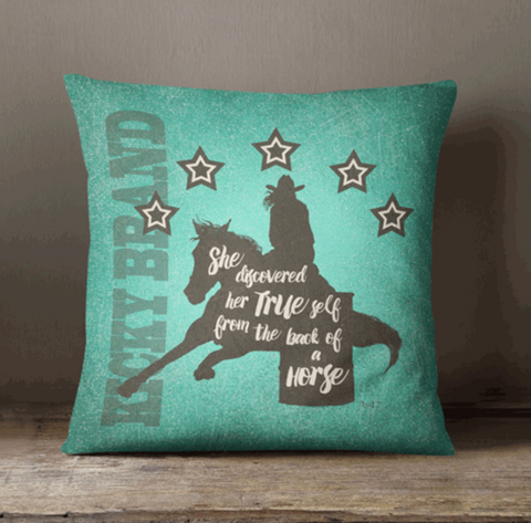 """Her True Self"" Pillow - Barrel Racer"