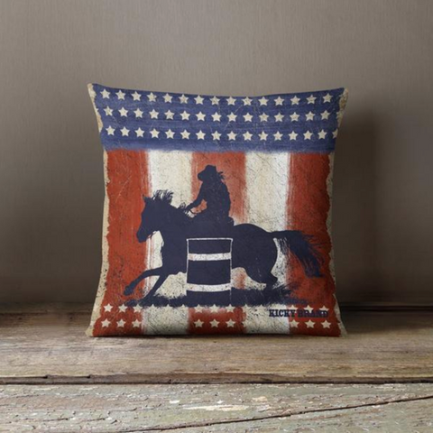 Red, White, & Barrels Throw Pillow