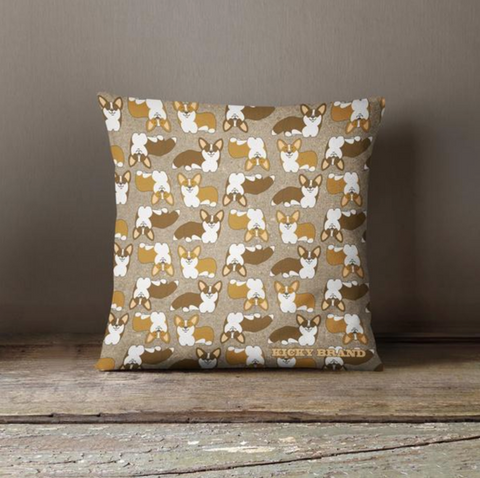 Corgi Crazy Throw Pillow - Nutmeg