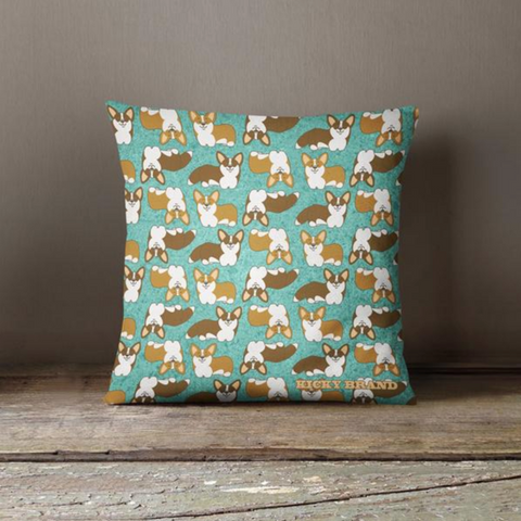 Corgi Crazy Throw Pillow - Patina