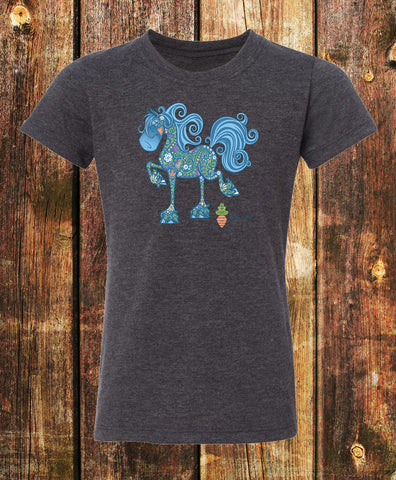 Equifauna Fancy Horse Girls Tee Charcoal