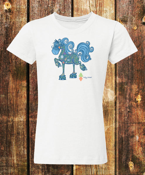 Equifauna Fancy Horse Girls Tee in White