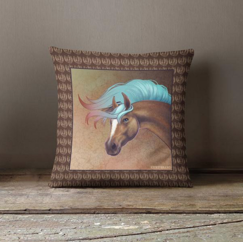 Salt Creek Horse Throw Pillow - Chocolate